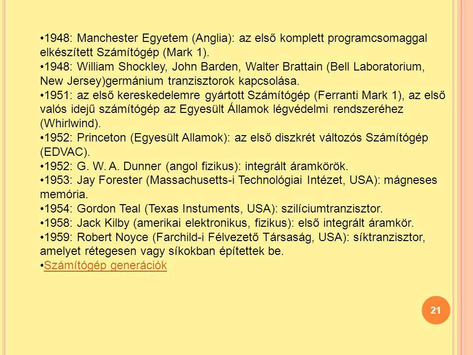 21 1948: Manchester Egyetem (Anglia): az első komplett programcsomaggal elkészített Számítógép (Mark 1). 1948: William Shockley, John Barden, Walter B