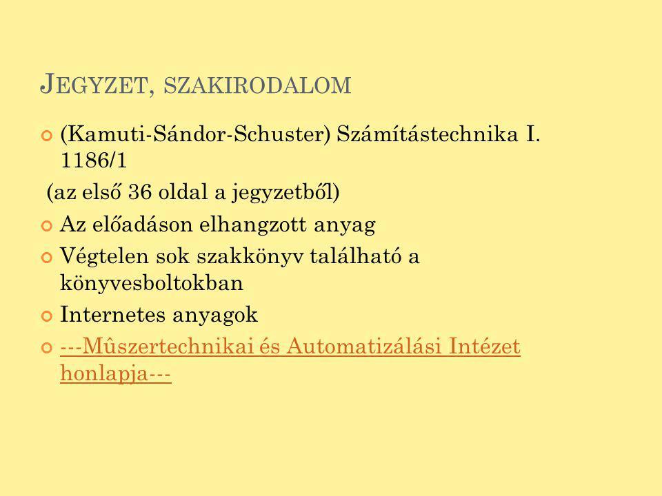 J EGYZET, SZAKIRODALOM (Kamuti-Sándor-Schuster) Számítástechnika I. 1186/1 (az első 36 oldal a jegyzetből) Az előadáson elhangzott anyag Végtelen sok