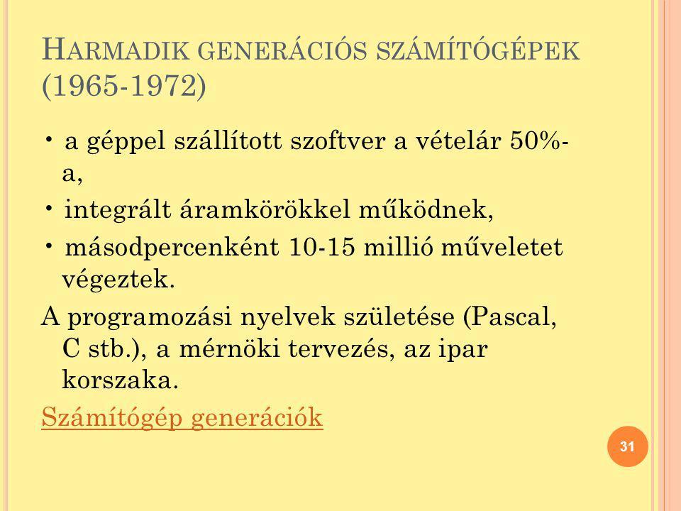 H ARMADIK GENERÁCIÓS SZÁMÍTÓGÉPEK (1965-1972) a géppel szállított szoftver a vételár 50%- a, integrált áramkörökkel működnek, másodpercenként 10-15 mi