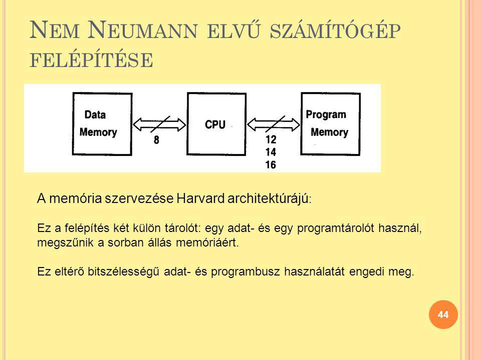 N EM N EUMANN ELVŰ SZÁMÍTÓGÉP FELÉPÍTÉSE 44 A memória szervezése Harvard architektúrájú : Ez a felépítés két külön tárolót: egy adat- és egy programtá