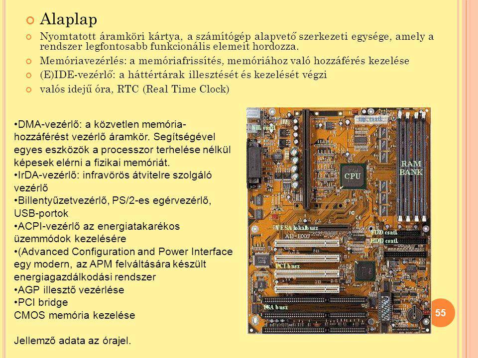 Alaplap Nyomtatott áramköri kártya, a számítógép alapvető szerkezeti egysége, amely a rendszer legfontosabb funkcionális elemeit hordozza. Memóriavezé