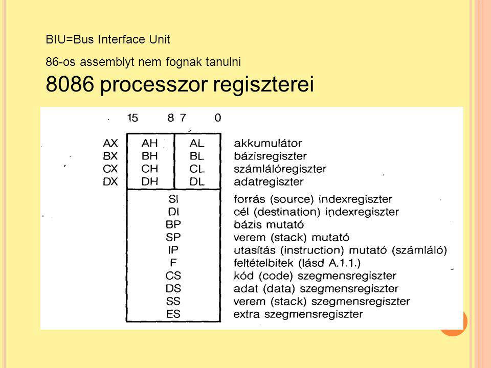 69 BIU=Bus Interface Unit 86-os assemblyt nem fognak tanulni 8086 processzor regiszterei