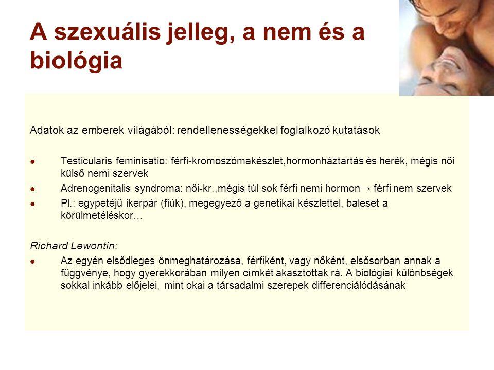A szexuális jelleg, a nem és a biológia Adatok az emberek világából: rendellenességekkel foglalkozó kutatások Testicularis feminisatio: férfi-kromoszó