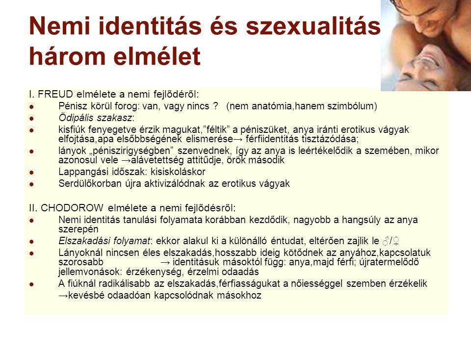 Nemi identitás és szexualitás: három elmélet I. FREUD elmélete a nemi fejlődéről: Pénisz körül forog: van, vagy nincs ? (nem anatómia,hanem szimbólum)