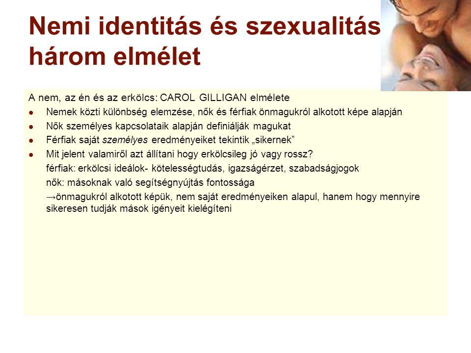 Nemi identitás és szexualitás: három elmélet A nem, az én és az erkölcs: CAROL GILLIGAN elmélete Nemek közti különbség elemzése, nők és férfiak önmagu