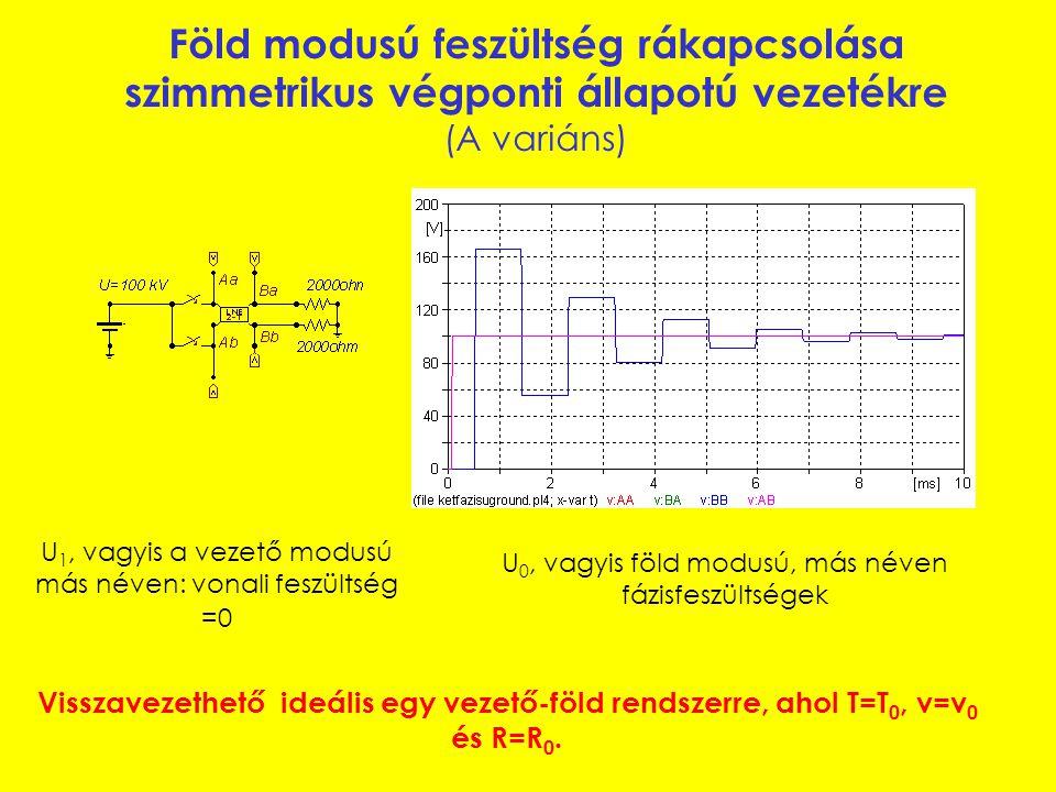 Föld modusú feszültség rákapcsolása kvázi- szimmetrikus végponti állapotú vezetékre (B variáns) Föld modusú és vezető modusú feszültségek Szimmetrizálva:
