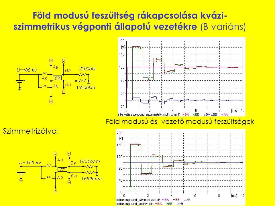 Vezető modusú feszültség rákapcsolása szimmetrikus végponti állapotú vezetékre (A variáns) Fázisfeszültségek vezető modusú feszültség Visszavezethető ideális egy vezető-föld rendszerre, ahol T=T 1, v=v 1 és R=R 1.