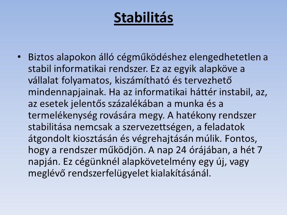 Stabilitás Biztos alapokon álló cégműködéshez elengedhetetlen a stabil informatikai rendszer. Ez az egyik alapköve a vállalat folyamatos, kiszámítható