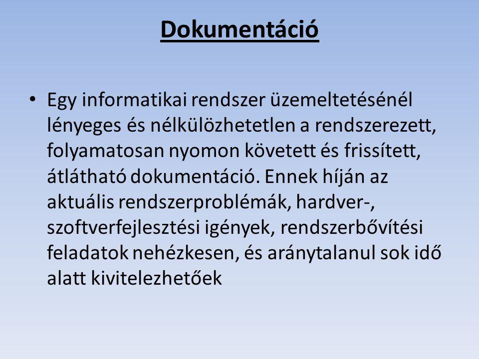 Dokumentáció Egy informatikai rendszer üzemeltetésénél lényeges és nélkülözhetetlen a rendszerezett, folyamatosan nyomon követett és frissített, átlátható dokumentáció.