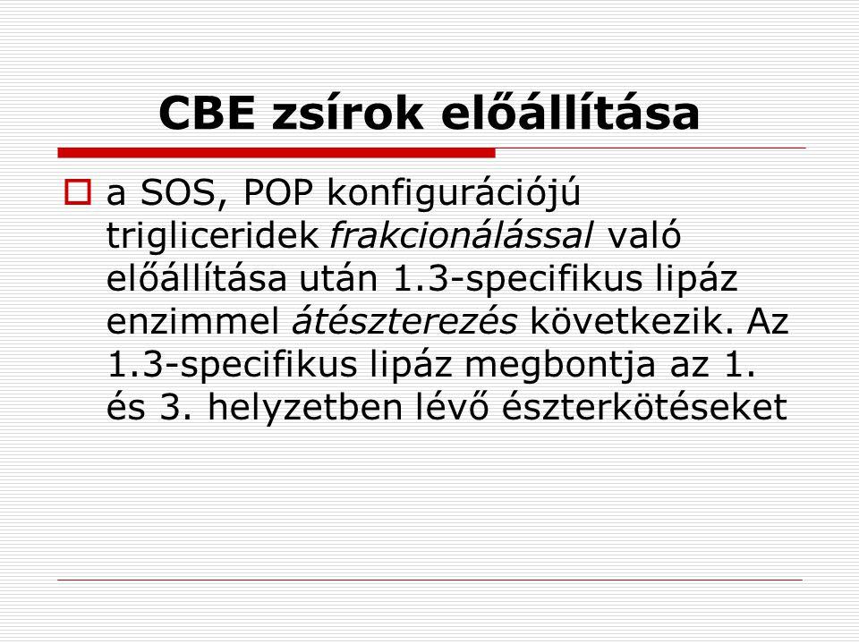 A CBE zsírok tipikus triglicerid összetétele POPPOSSOSEGYÉB CBE 16316417 CBE 239133117 CBE 331273111 CBI22115017 Kakaóvaj16362622