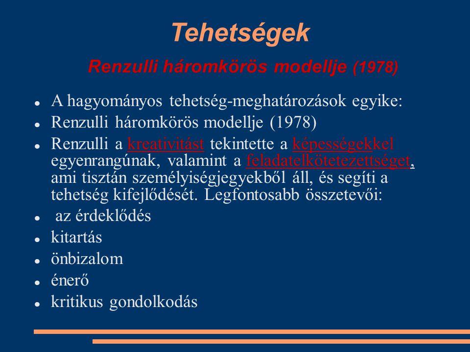 Tehetségek Renzulli háromkörös modellje (1978) A hagyományos tehetség-meghatározások egyike: Renzulli háromkörös modellje (1978) Renzulli a kreativitá
