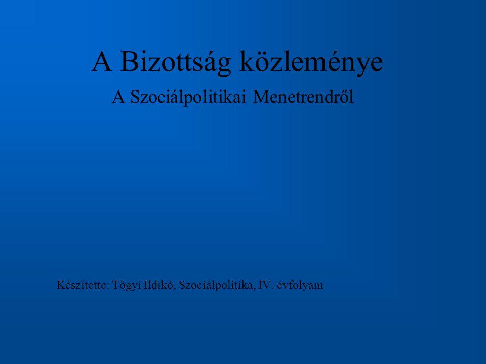 A Bizottság közleménye A Szociálpolitikai Menetrendről Készítette: Tőgyi Ildikó, Szociálpolitika, IV.