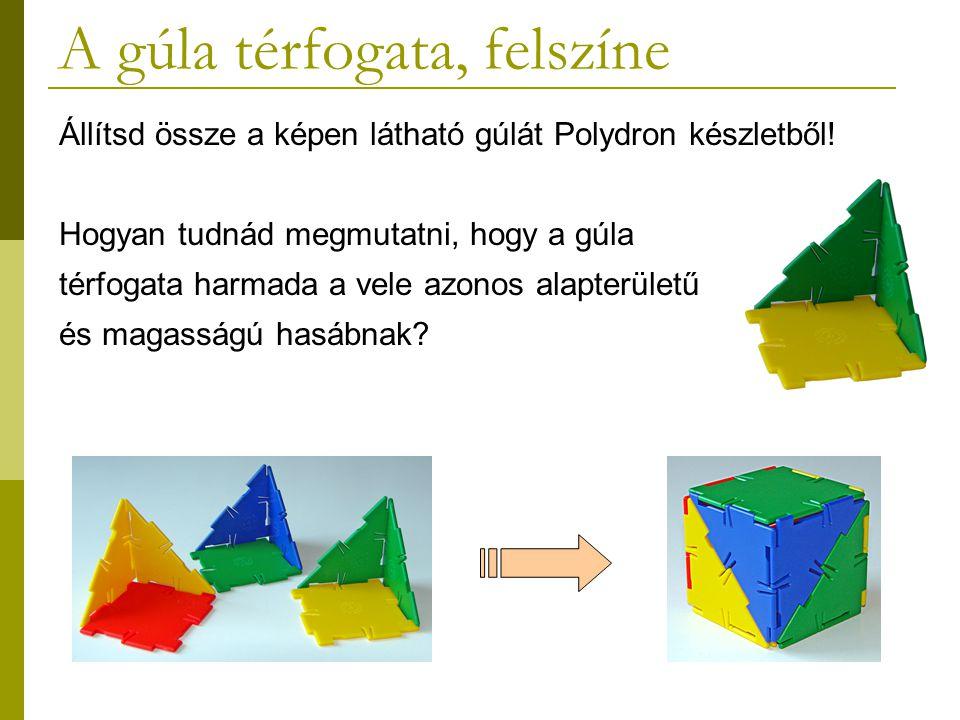 A gúla térfogata, felszíne Állítsd össze a képen látható gúlát Polydron készletből! Hogyan tudnád megmutatni, hogy a gúla térfogata harmada a vele azo