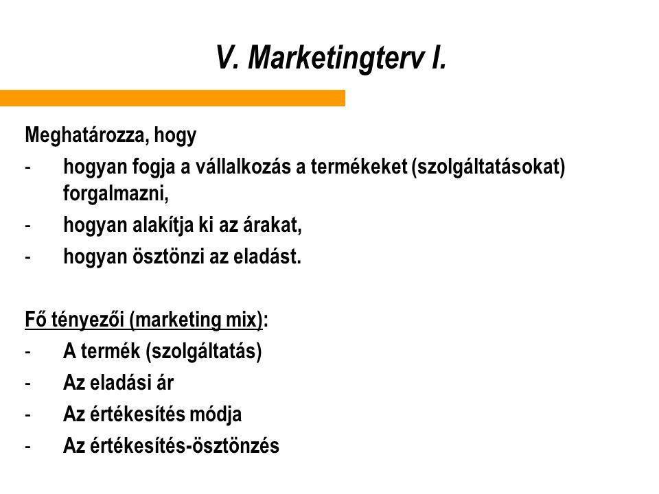 V. Marketingterv I. Meghatározza, hogy - hogyan fogja a vállalkozás a termékeket (szolgáltatásokat) forgalmazni, - hogyan alakítja ki az árakat, - hog