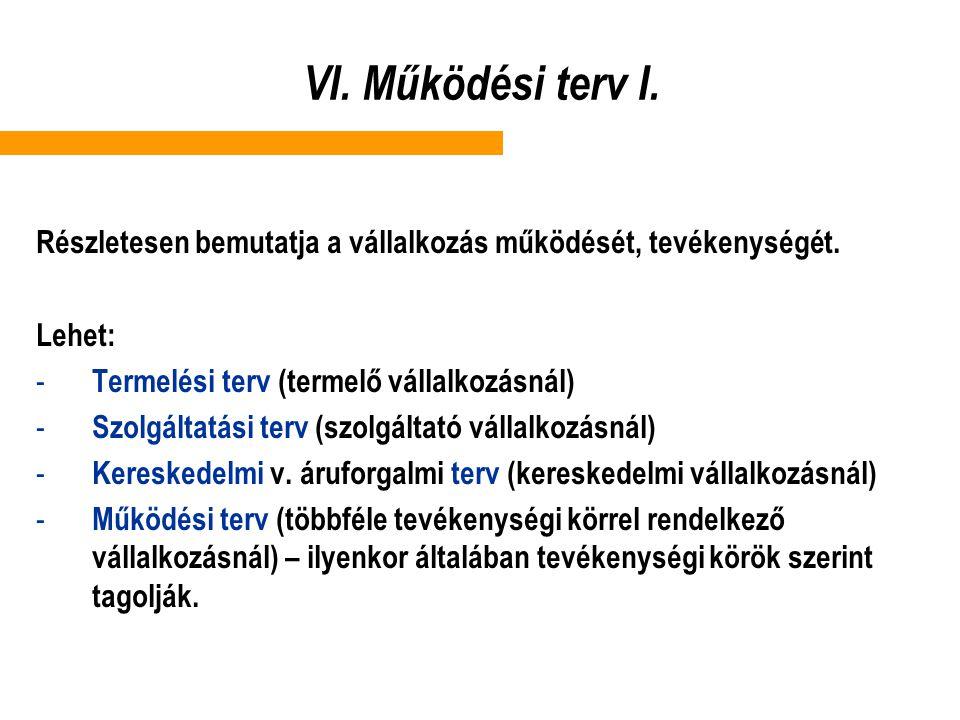 VI. Működési terv I. Részletesen bemutatja a vállalkozás működését, tevékenységét. Lehet: - Termelési terv (termelő vállalkozásnál) - Szolgáltatási te