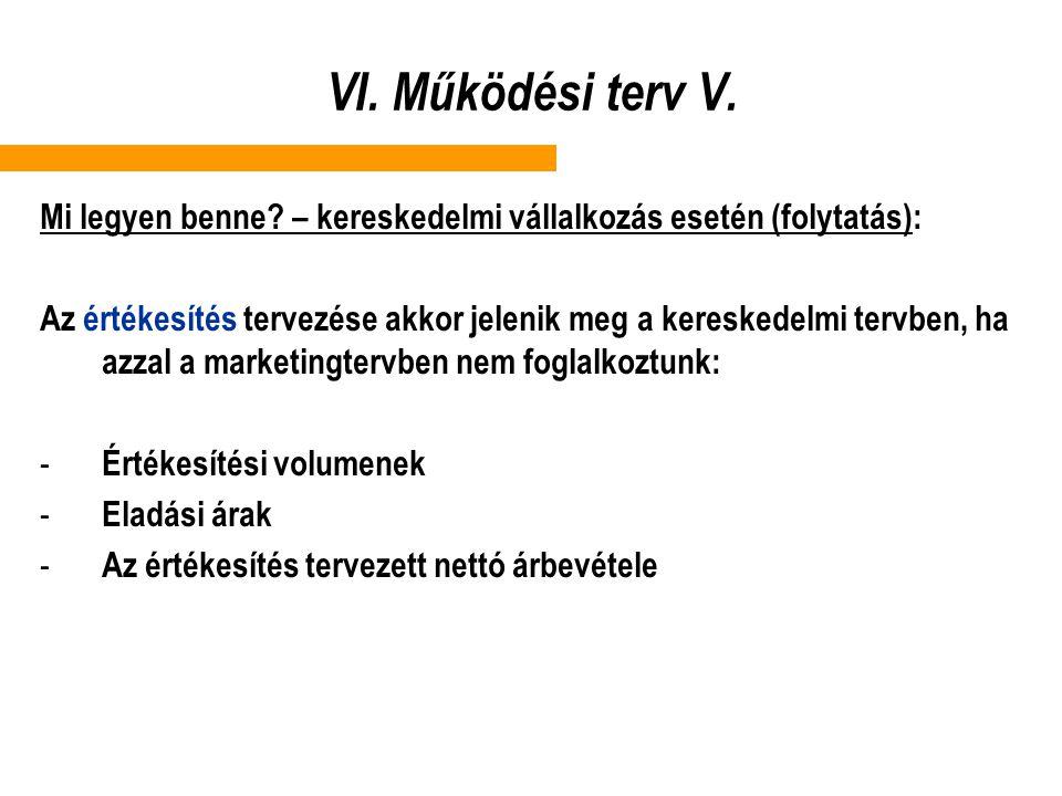 VI. Működési terv V. Mi legyen benne? – kereskedelmi vállalkozás esetén (folytatás): Az értékesítés tervezése akkor jelenik meg a kereskedelmi tervben