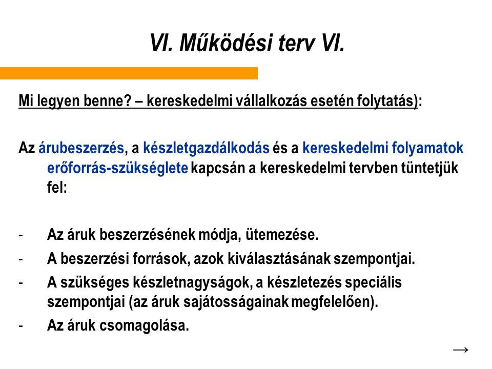 VI. Működési terv VI. Mi legyen benne? – kereskedelmi vállalkozás esetén folytatás): Az árubeszerzés, a készletgazdálkodás és a kereskedelmi folyamato
