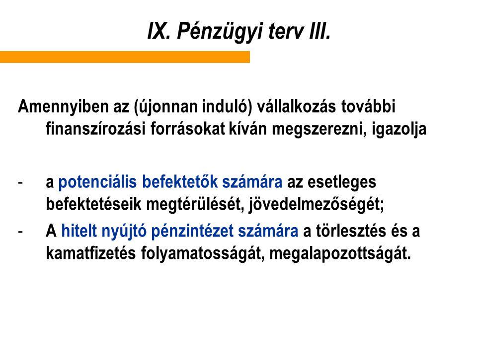 IX. Pénzügyi terv III. Amennyiben az (újonnan induló) vállalkozás további finanszírozási forrásokat kíván megszerezni, igazolja - a potenciális befekt