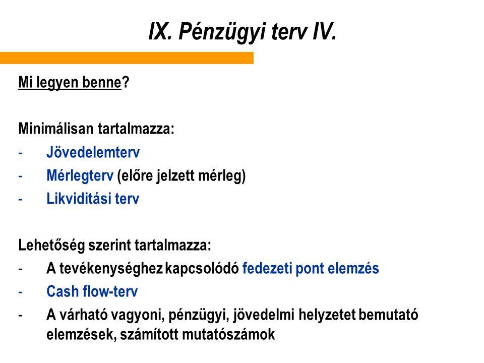 IX. Pénzügyi terv IV. Mi legyen benne? Minimálisan tartalmazza: - Jövedelemterv - Mérlegterv (előre jelzett mérleg) - Likviditási terv Lehetőség szeri