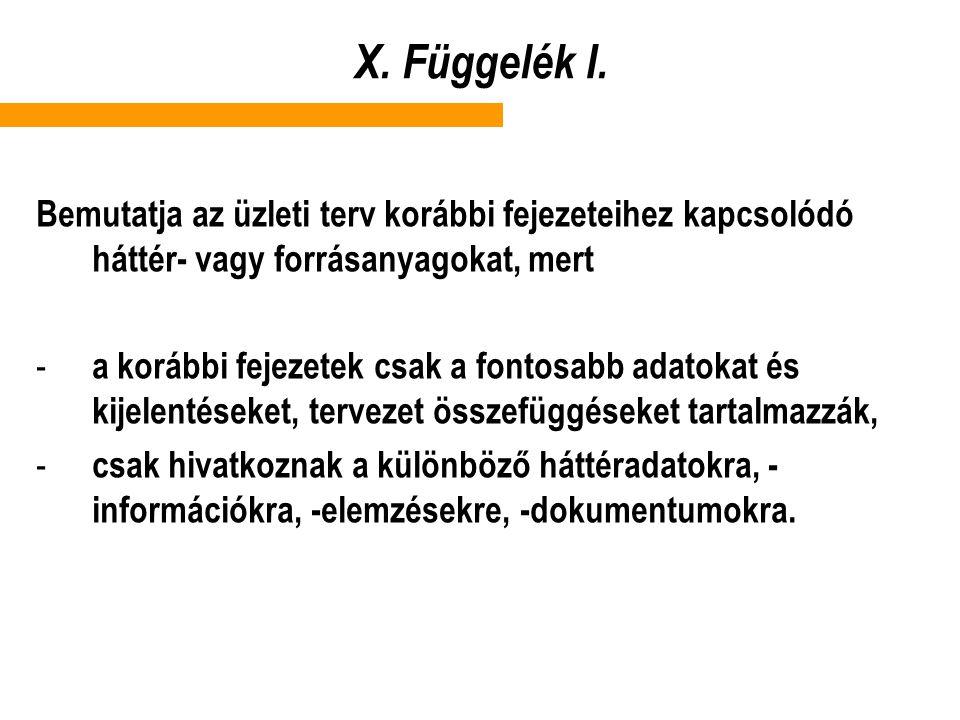 X.Függelék I.