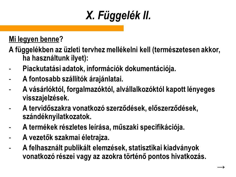 X.Függelék II. Mi legyen benne.
