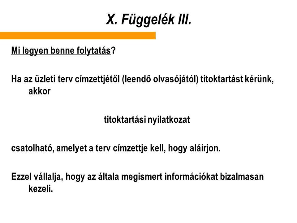 X.Függelék III. Mi legyen benne folytatás.