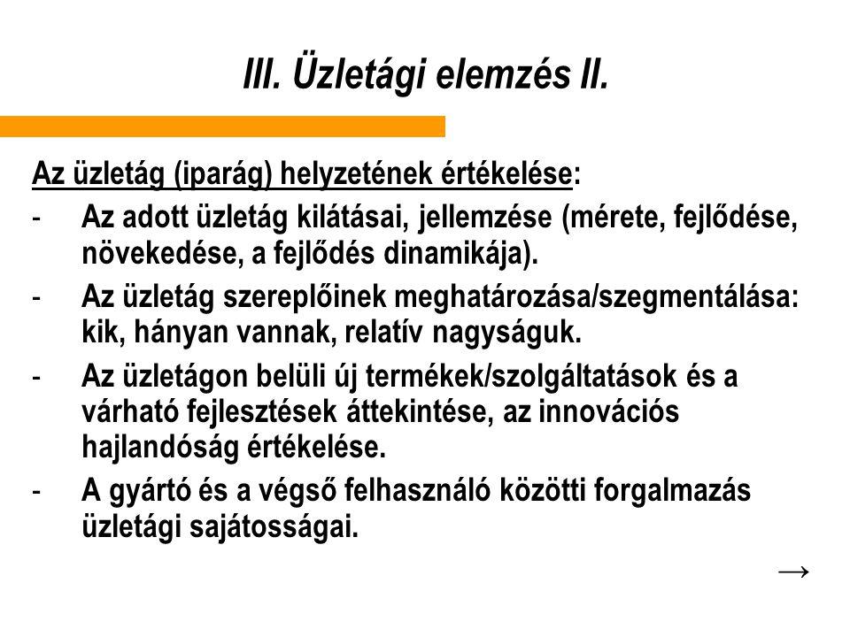 III.Üzletági elemzés II.