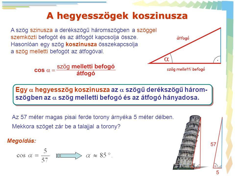 A hegyesszögek koszinusza A szög szinusza a derékszögű háromszögben a szöggel szemközti befogót és az átfogót kapcsolja össze. Hasonlóan egy szög kosz
