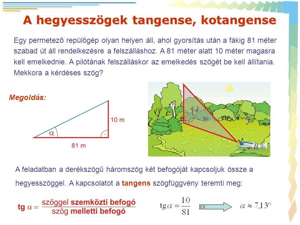 A hegyesszögek tangense, kotangense Egy permetező repülőgép olyan helyen áll, ahol gyorsítás után a fákig 81 méter szabad út áll rendelkezésre a felsz