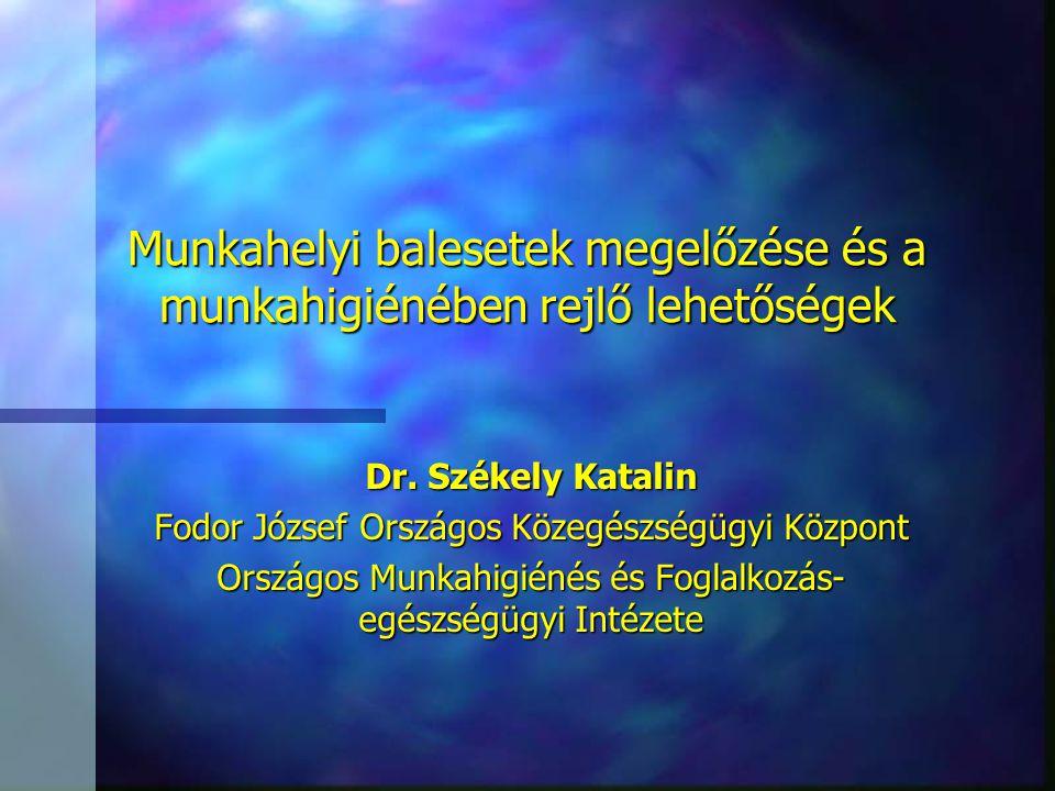 Munkahelyi balesetek megelőzése és a munkahigiénében rejlő lehetőségek Dr. Székely Katalin Fodor József Országos Közegészségügyi Központ Országos Munk