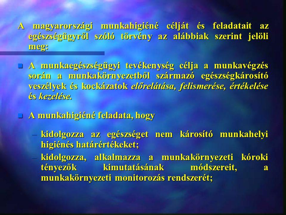 A magyarországi munkahigiéné célját és feladatait az egészségügyről szóló törvény az alábbiak szerint jelöli meg: n A munkaegészségügyi tevékenység célja a munkavégzés során a munkakörnyezetből származó egészségkárosító veszélyek és kockázatok előrelátása, felismerése, értékelése és kezelése.