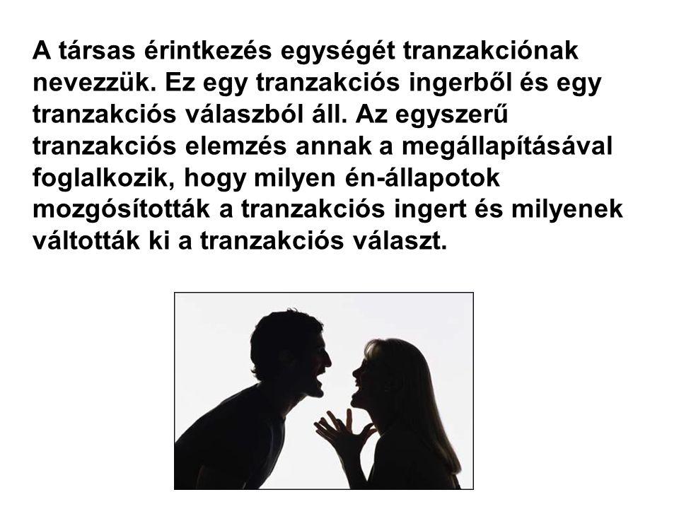 A társas érintkezés egységét tranzakciónak nevezzük. Ez egy tranzakciós ingerből és egy tranzakciós válaszból áll. Az egyszerű tranzakciós elemzés ann