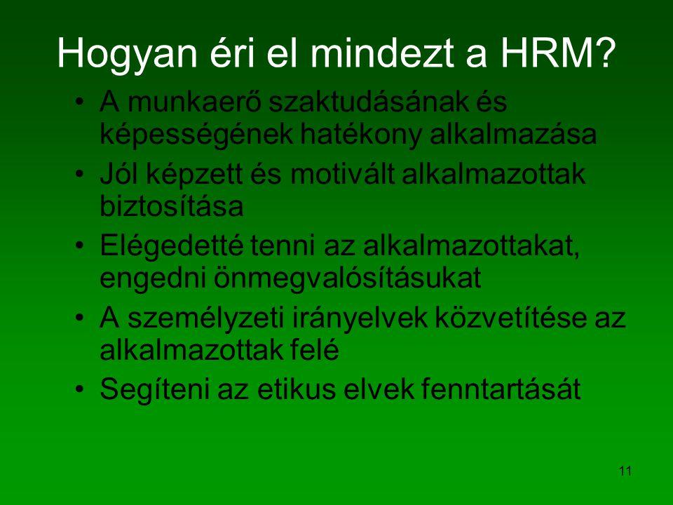 11 Hogyan éri el mindezt a HRM? A munkaerő szaktudásának és képességének hatékony alkalmazása Jól képzett és motivált alkalmazottak biztosítása Eléged