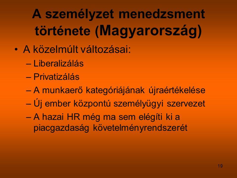 19 A személyzet menedzsment története ( Magyarország) A közelmúlt változásai: –Liberalizálás –Privatizálás –A munkaerő kategóriájának újraértékelése –