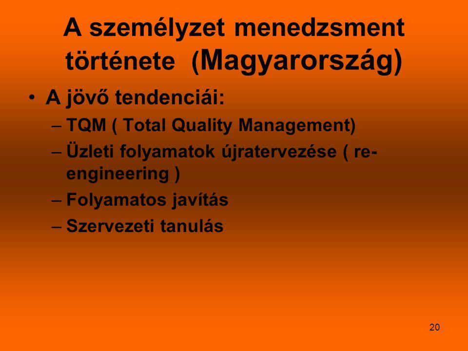 20 A személyzet menedzsment története ( Magyarország) A jövő tendenciái: –TQM ( Total Quality Management) –Üzleti folyamatok újratervezése ( re- engin