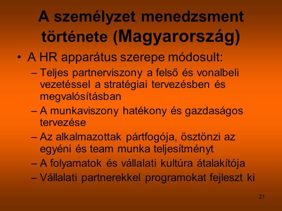 21 A személyzet menedzsment története ( Magyarország) A HR apparátus szerepe módosult: –Teljes partnerviszony a felső és vonalbeli vezetéssel a straté