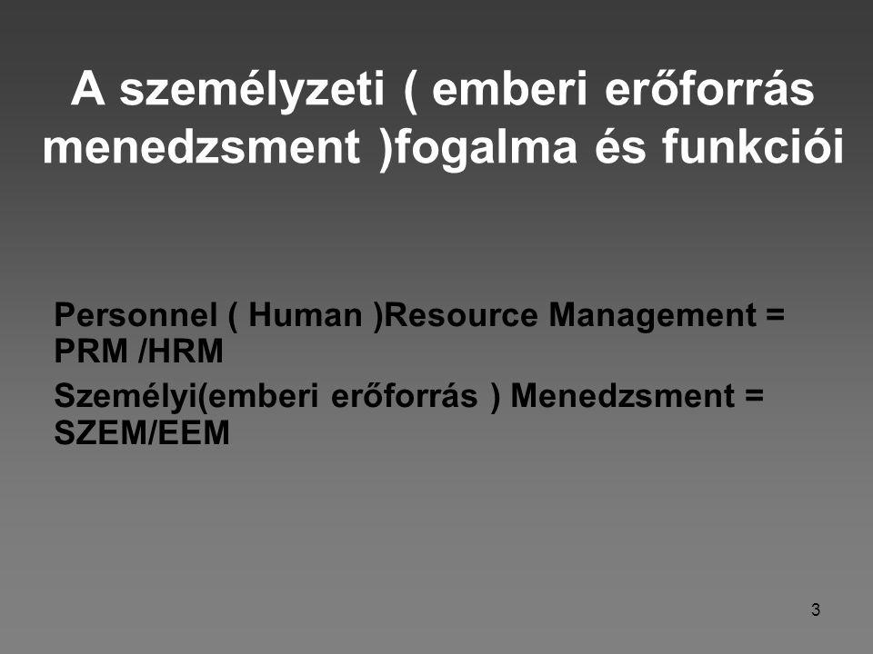 3 A személyzeti ( emberi erőforrás menedzsment )fogalma és funkciói Personnel ( Human )Resource Management = PRM /HRM Személyi(emberi erőforrás ) Mene