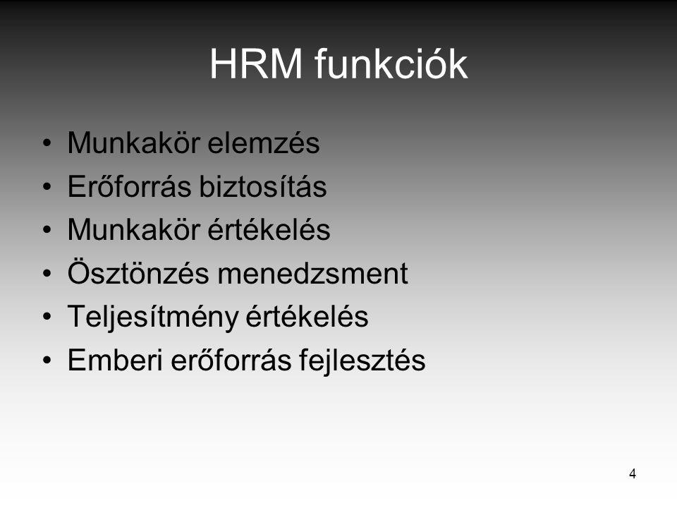 4 HRM funkciók Munkakör elemzés Erőforrás biztosítás Munkakör értékelés Ösztönzés menedzsment Teljesítmény értékelés Emberi erőforrás fejlesztés