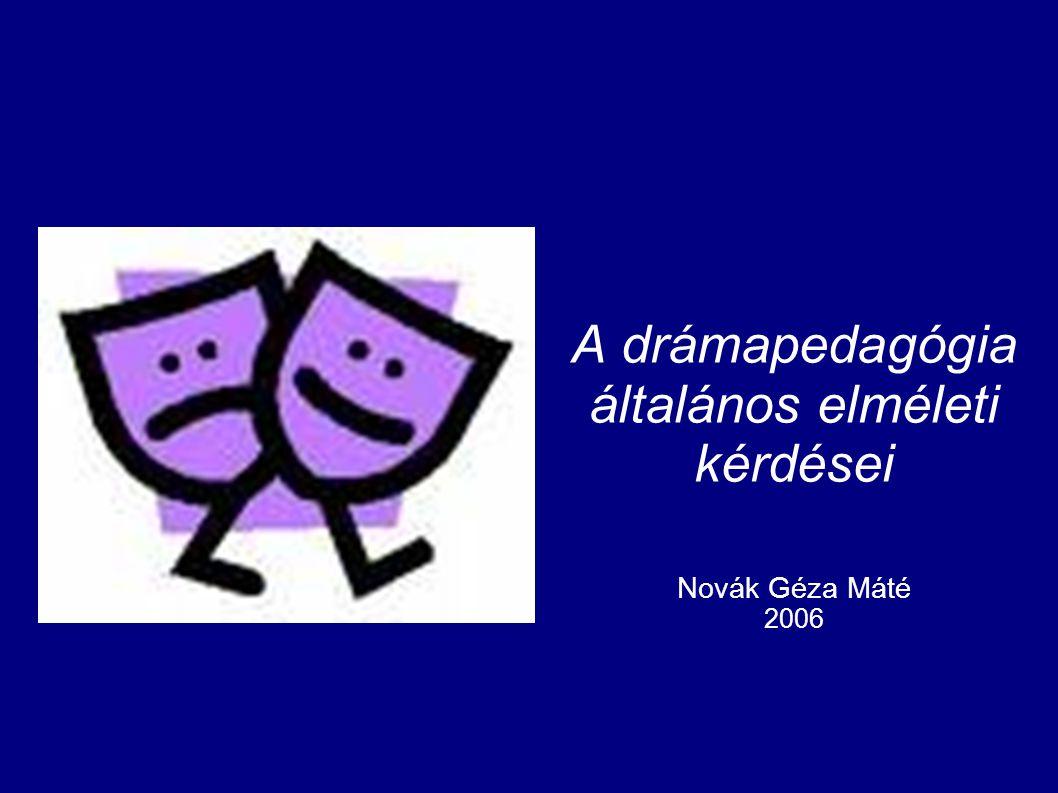 A drámapedagógia általános elméleti kérdései Novák Géza Máté 2006