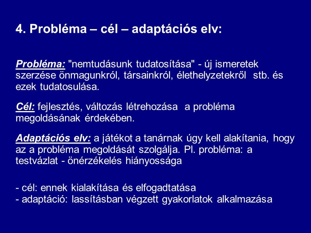 4. Probléma – cél – adaptációs elv: Probléma: