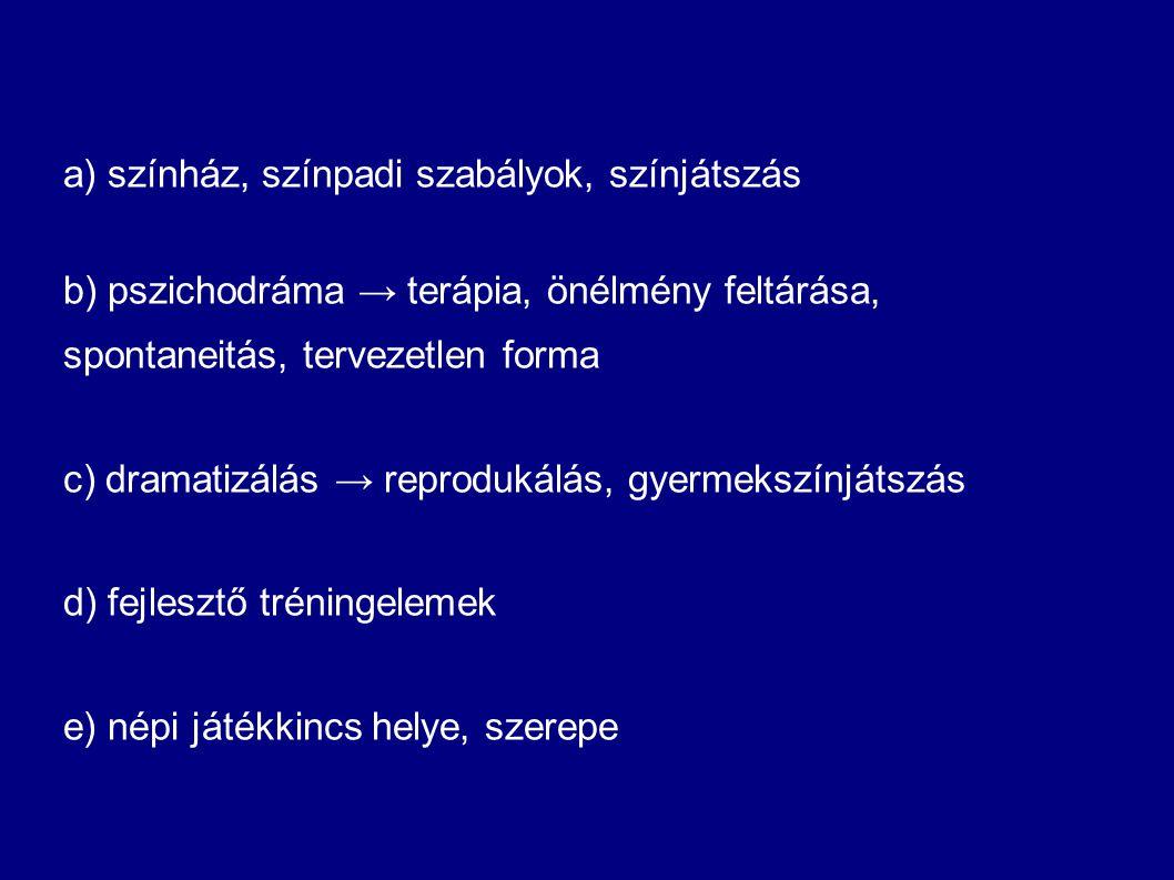 a) színház, színpadi szabályok, színjátszás b) pszichodráma → terápia, önélmény feltárása, spontaneitás, tervezetlen forma c) dramatizálás → reproduká