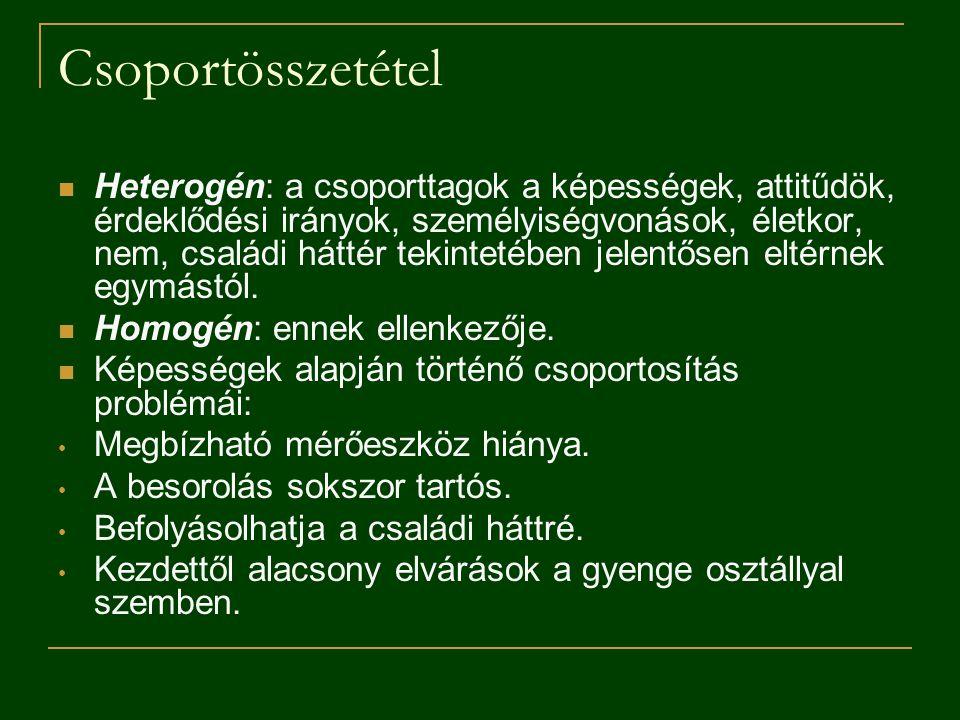 Csoportösszetétel Heterogén: a csoporttagok a képességek, attitűdök, érdeklődési irányok, személyiségvonások, életkor, nem, családi háttér tekintetébe