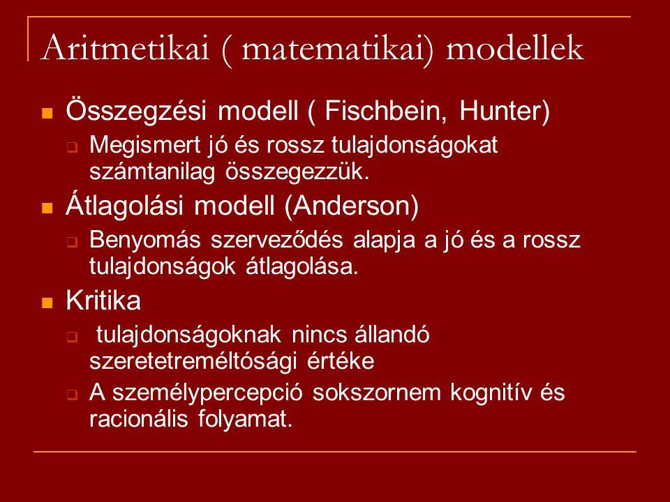 Aritmetikai ( matematikai) modellek Összegzési modell ( Fischbein, Hunter)  Megismert jó és rossz tulajdonságokat számtanilag összegezzük. Átlagolási