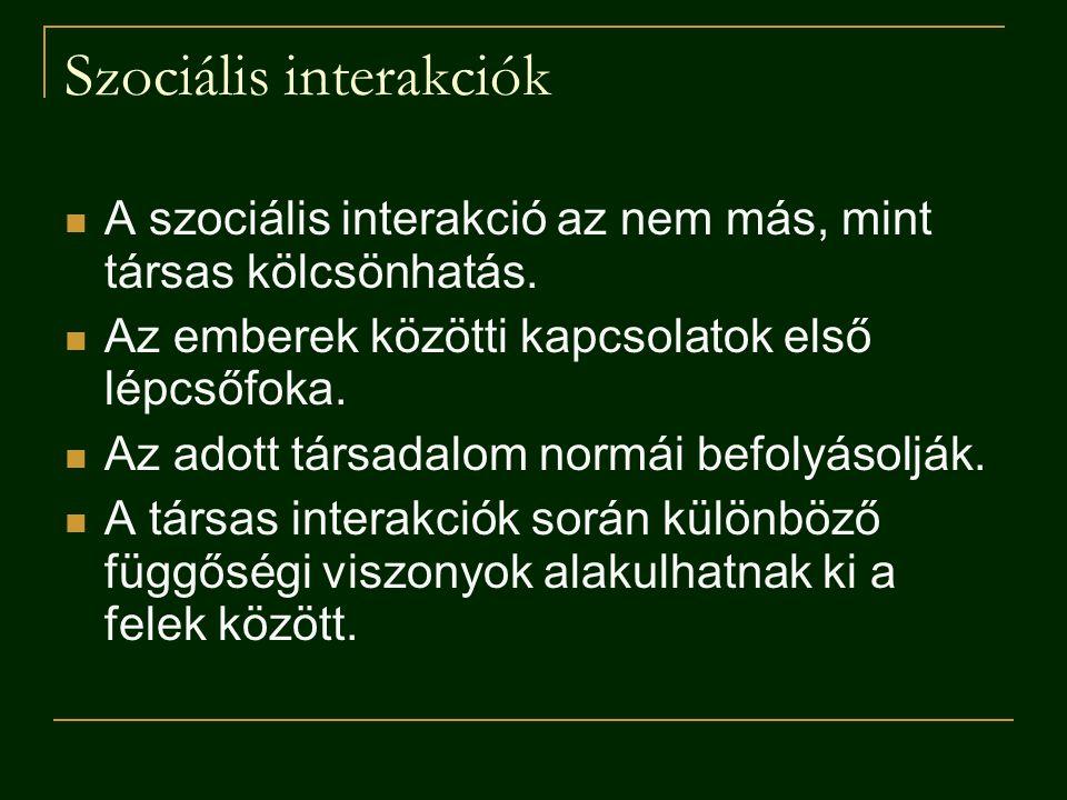 Szociális interakciók A szociális interakció az nem más, mint társas kölcsönhatás. Az emberek közötti kapcsolatok első lépcsőfoka. Az adott társadalom