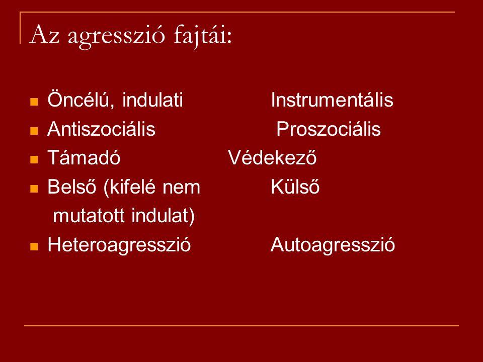Az agresszió fajtái: Öncélú, indulatiInstrumentális Antiszociális Proszociális Támadó Védekező Belső (kifelé nemKülső mutatott indulat) Heteroagresszi