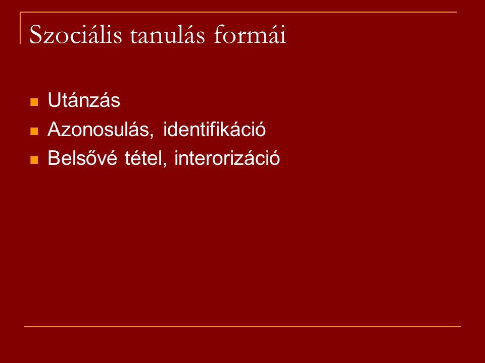 Szociális tanulás formái Utánzás Azonosulás, identifikáció Belsővé tétel, interorizáció