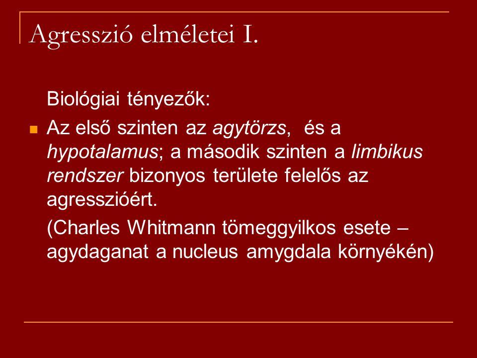 Agresszió elméletei I. Biológiai tényezők: Az első szinten az agytörzs, és a hypotalamus; a második szinten a limbikus rendszer bizonyos területe fele