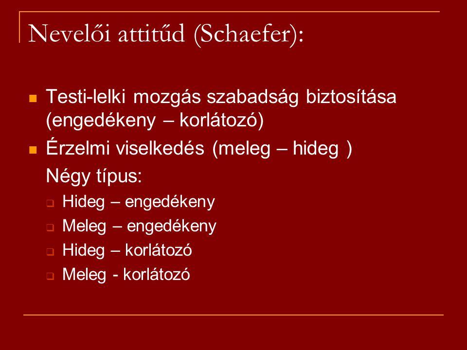 Nevelői attitűd (Schaefer): Testi-lelki mozgás szabadság biztosítása (engedékeny – korlátozó) Érzelmi viselkedés (meleg – hideg ) Négy típus:  Hideg