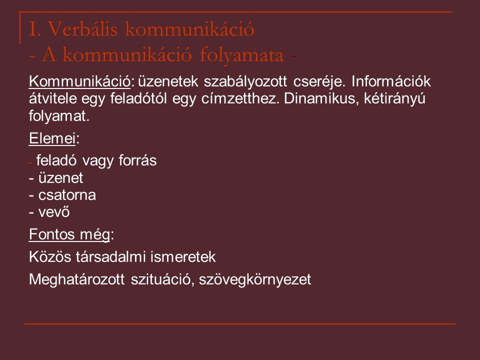I. Verbális kommunikáció - A kommunikáció folyamata - Kommunikáció: üzenetek szabályozott cseréje. Információk átvitele egy feladótól egy címzetthez.