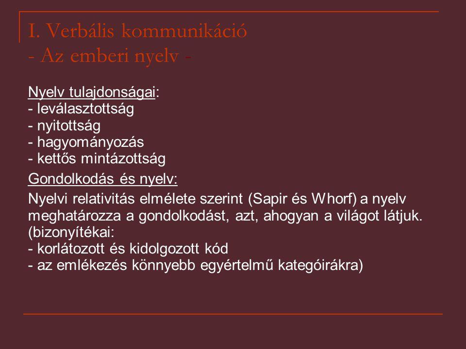 I. Verbális kommunikáció - Az emberi nyelv - Nyelv tulajdonságai: - leválasztottság - nyitottság - hagyományozás - kettős mintázottság Gondolkodás és